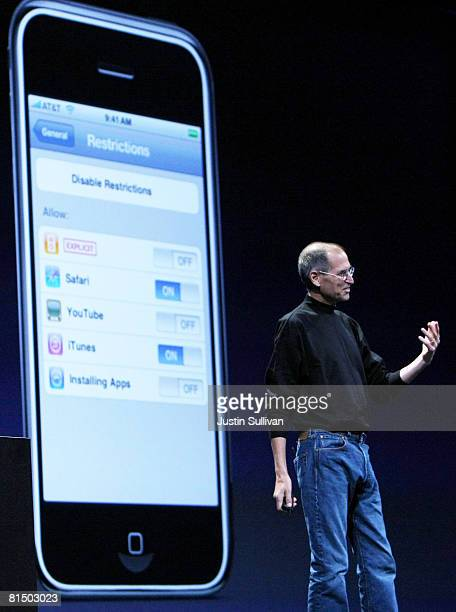 Apple CEO Steve Jobs announces the new iPhone 3G as he delivers the keynote address at the Apple Worldwide Web Developers Conference June 9 2008 in...