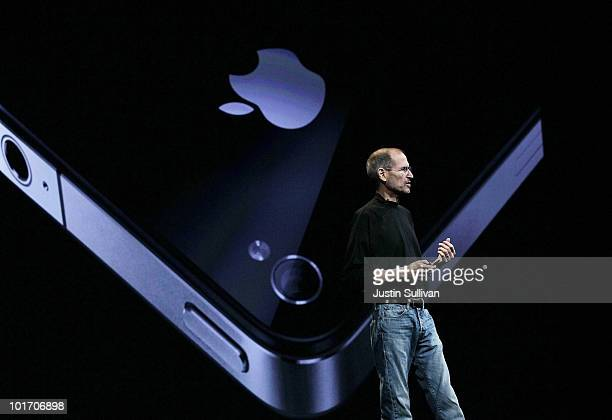 Apple CEO Steve Jobs announces the new iPhone 4 as he delivers the opening keynote address at the 2010 Apple World Wide Developers conference June 7,...
