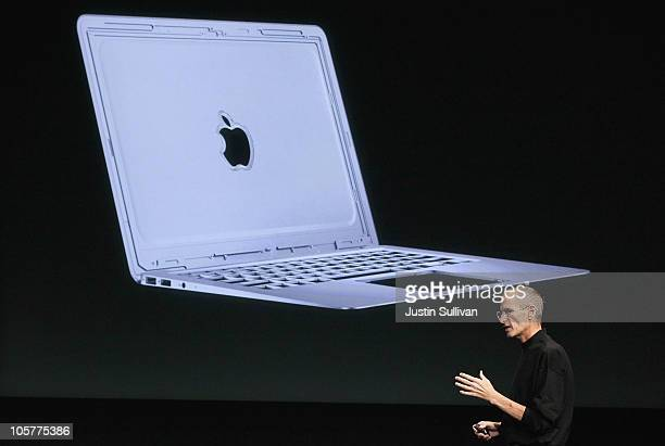 Apple CEO Steve Jobs announces the new MacBook Air as he speaks during an Apple special event at the company's headquarters on October 20 2010 in...