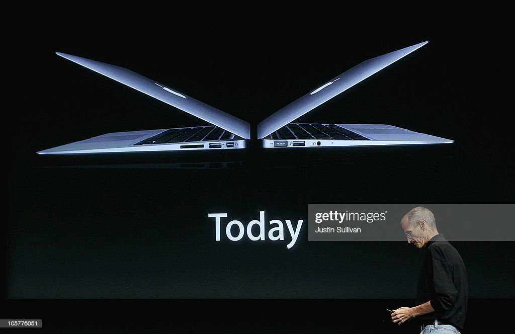 Apple CEO Steve Jobs announces the new MacBook Air as he speaks during an Apple special event at the company's headquarters on October 20, 2010 in Cupertino, California. Jobs announced the new OSX Lion operating system for Mac computers Mac computers, iLife 11 and MacBook Air in 13 inch and 11.6 inch models.