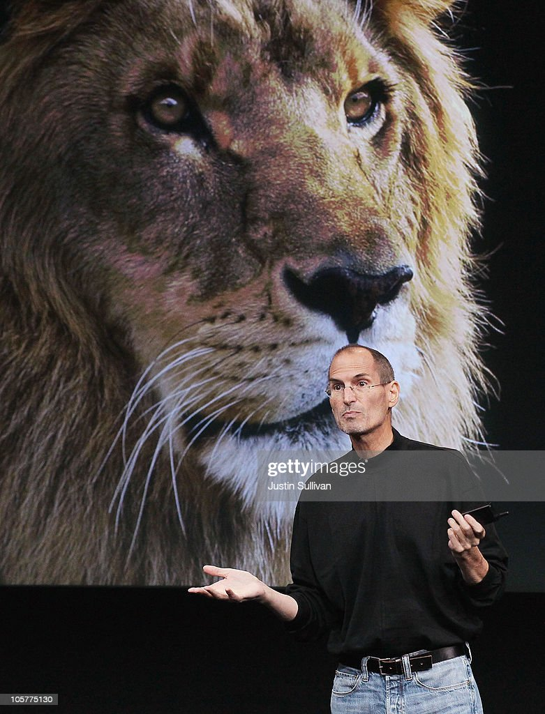 Apple CEO Steve Jobs announces the new OSX Lion operating system as he speaks during an Apple special event at the company's headquarters on October 20, 2010 in Cupertino, California. Jobs announced the new OSX Lion operating system for Mac computers and iLife 11.