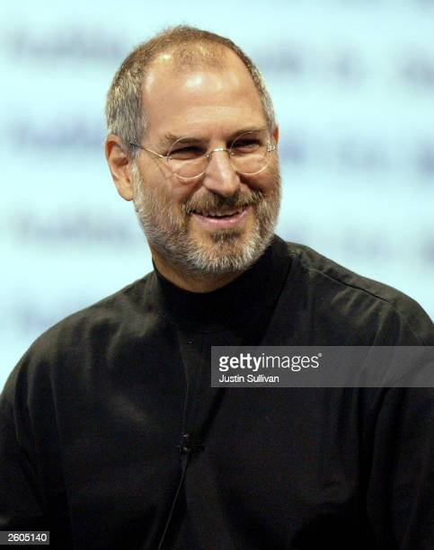 Apple CEO Steve Jobs delivers a kenote address October 16, 2003 in San Francisco. Jobs announced the popular iTunes music program would now be able...