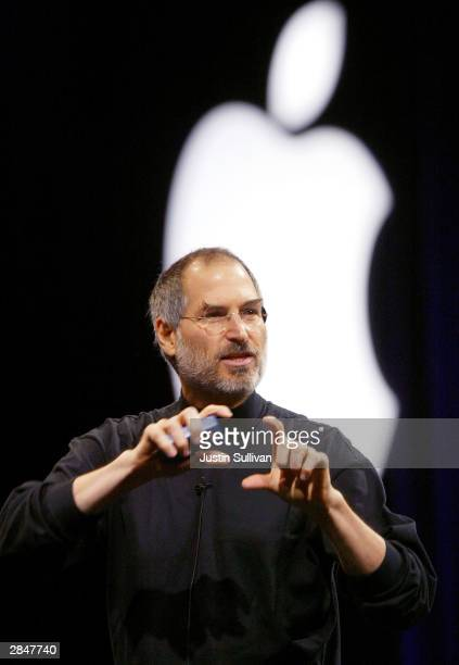 Apple CEO Steve Jobs delivers a keynote address at Macworld January 6 2004 in San Francisco Jobs announced several new products including the new...