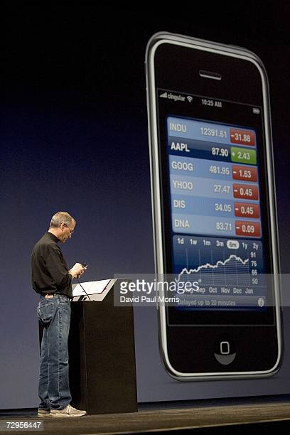 Apple CEO Steve Jobs delivers his keynote speech at Macworld on January 9 2007 in San Francisco California During the keynote Jobs introduced the new...