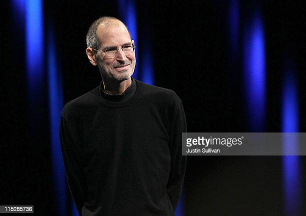 Apple CEO Steve Jobs delivers the keynote address at the 2011 Apple World Wide Developers Conference at the Moscone Center on June 6, 2011 in San...