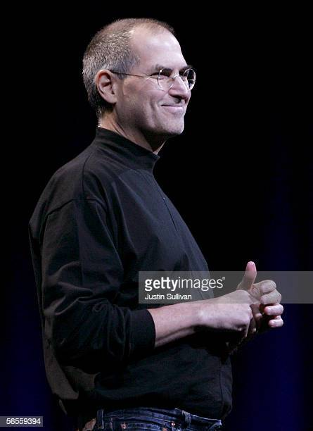 Apple CEO Steve Jobs delivers the keynote address during the 2006 Macworld January 10, 2006 in San Francisco, California. Jobs announced a new iMac...