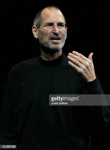 Apple CEO Steve Jobs delivers the opening keynote address at the 2010 Apple World Wide Developers conference June 7 2010 in San Francisco California...