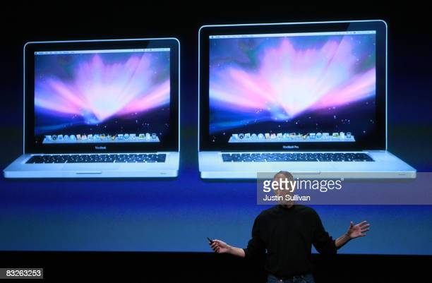 Apple CEO Steve Jobs discusses a new version of the Mac Book during a 'town hall' style event at Apple Headquarters October 14 2008 in Cupertino...