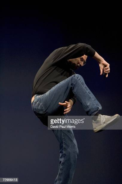 Apple CEO Steve Jobs gestures while delivering his keynote speech at Macworld on January 9 2007 in San Francisco California During the keynote Jobs...