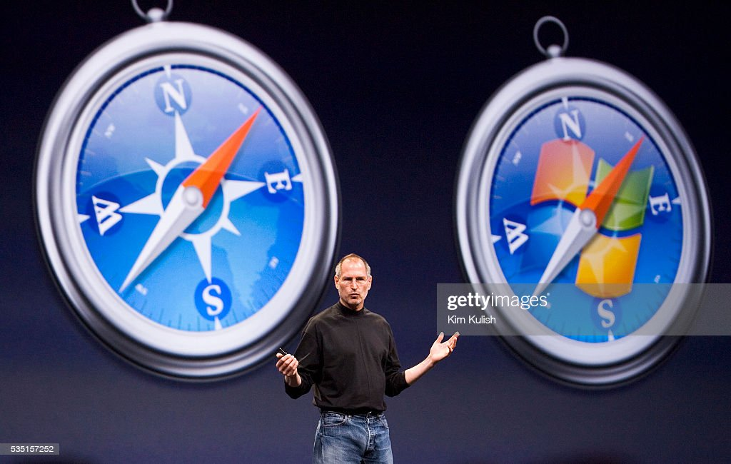 Apple CEO Steve Jobs gives his keynote presentation at the
