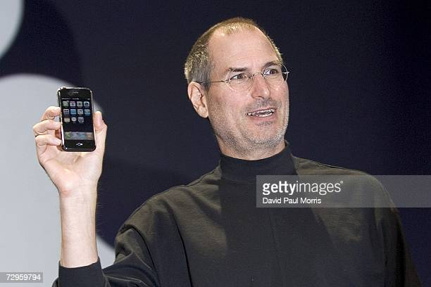 Apple CEO Steve Jobs holds up the new iPhone that was introduced at Macworld on January 9, 2007 in San Francisco, California. During the keynote Jobs...