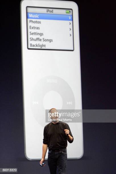 Apple CEO Steve Jobs introduces the new iPod cell phone, made by Motorola, and the new iPod nano, which is thinner than a No. 2 pencil September 7,...