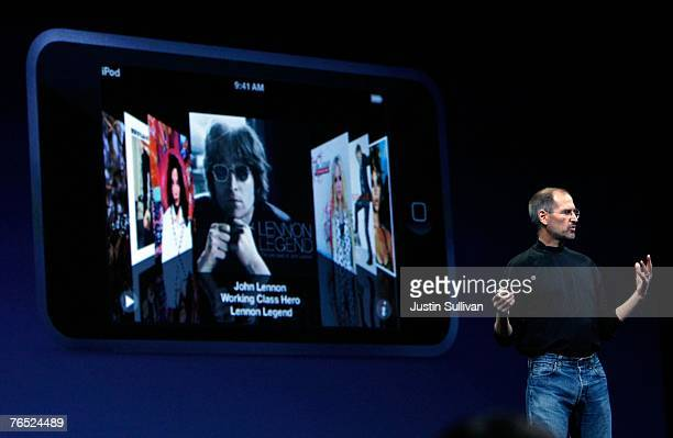 Apple CEO Steve Jobs introduces the new iPod Touch during an Apple Special event September 5 2007 in San Francisco California Jobs announced a new...