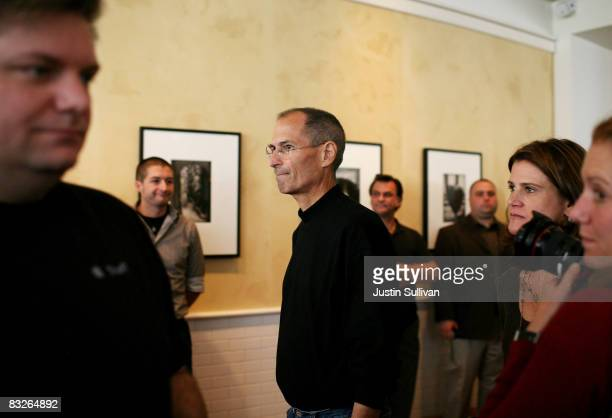 Apple CEO Steve Jobs mingles with members of the press after a special announcement event at Apple Headquarters October 14 2008 in Cupertino...