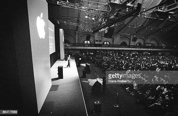 Apple CEO Steve Jobs onstage at Macworld Expo in Boston on August 8 1997