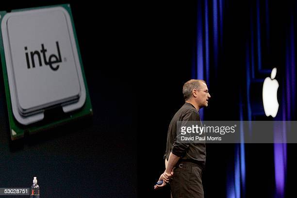 Apple CEO Steve Jobs opens the Apple Worldwide Developers conference with his keynote speech at the Moscone Center on June 6 2005 in San Francisco...
