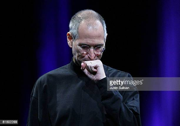 Apple CEO Steve Jobs pauses as he delivers the keynote address at the Apple Worldwide Web Developers Conference June 9 2008 in San Francisco...