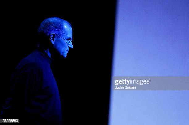 Apple CEO Steve Jobs pauses as he delivers the keynote address during the 2006 Macworld January 10 2006 in San Francisco California Jobs announced a...