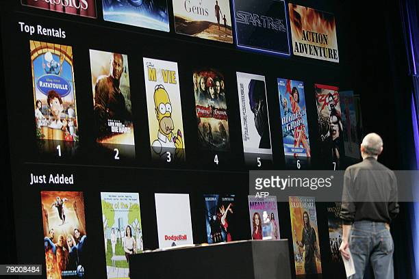 Apple CEO Steve Jobs shows off the new iTunes movie rentals at the MacWorld Conference Expo in San Francisco California 15 January 2008 iTunes Movie...