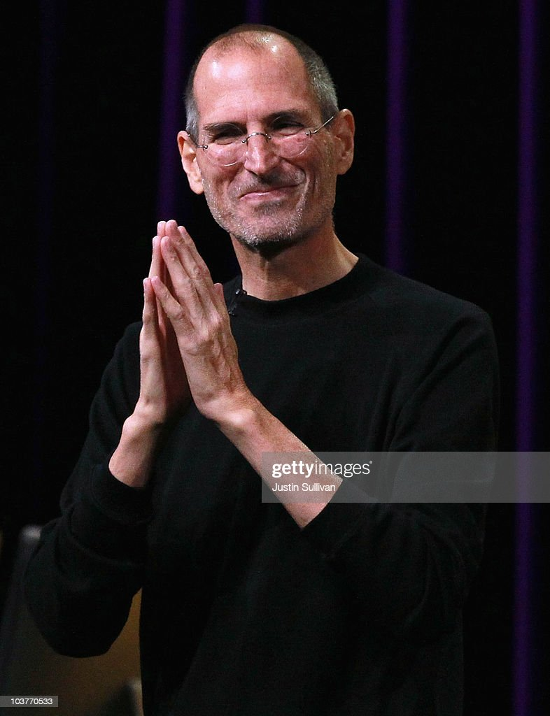 Apple CEO Steve Jobs speaks at an Apple Special Event at the Yerba Buena Center for the Arts September 1, 2010 in San Francisco, California. Apple CEO Steve Jobs announced upgraded versions of the entire iPod line, including an iPod Touch that includes a camera and smaller version of Apple TV.