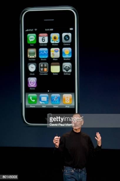 Apple CEO Steve Jobs speaks at the Apple headquarters March 6 2008 in Cupertino California Apple introduced a new iPhone software developers kit...