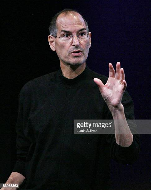 """Apple CEO Steve Jobs speaks during a """"town hall"""" style event at Apple Headquarters October 14, 2008 in Cupertino, California. Jobs announced a new..."""