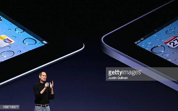 Apple CEO Steve Jobs speaks during an Apple Special event at the Yerba Buena Center for the Arts on March 2 2011 in San Francisco California Apple...