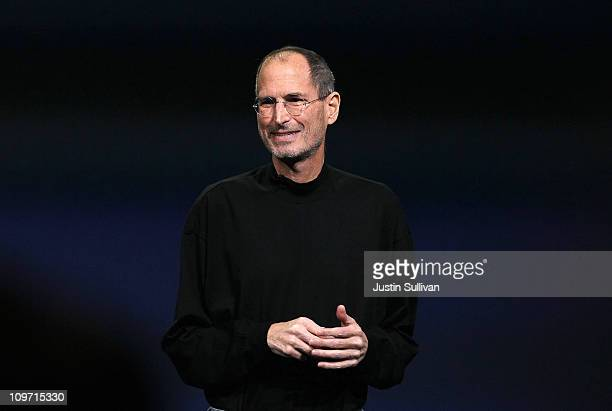 Apple CEO Steve Jobs speaks during an Apple Special event to unveil the new iPad 2 at the Yerba Buena Center for the Arts on March 2, 2011 in San...