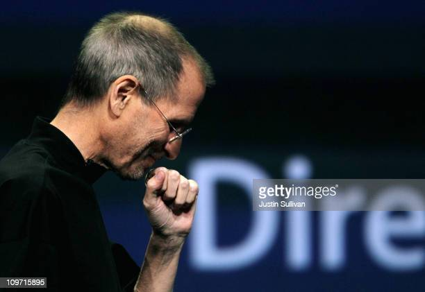 Apple CEO Steve Jobs speaks during an Apple Special event to unveil the new iPad 2 at the Yerba Buena Center for the Arts on March 2 2011 in San...