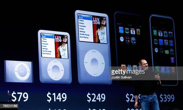 Apple CEO Steve Jobs speaks in front of a display of the new iPod products during an Apple Special event September 5 2007 in San Francisco California...