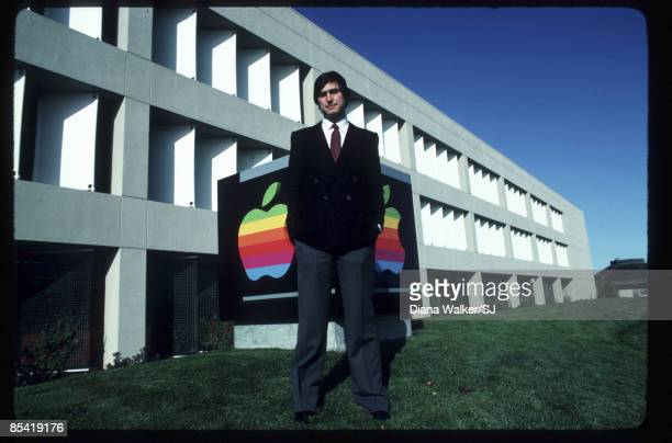 Apple CEO Steve Jobs standing outside of Apple Computer's headquarters in Cupertino, CA on December 15, 1982. IMAGE PREVIOUSLY A TIME & LIFE IMAGE.