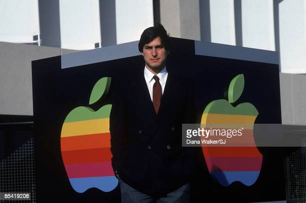 Apple CEO Steve Jobs standing outside of Apple Computer's headquarters in Cupertino CA on December 15 1982 IMAGE PREVIOUSLY A TIME LIFE IMAGE