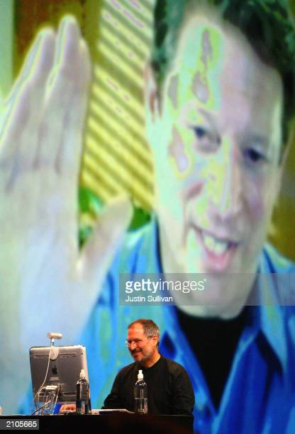 Apple CEO Steve Jobs talks with former US Vice President Al Gore on the new iChat AV as he delivers the keynote address at the Worldwide Developers...