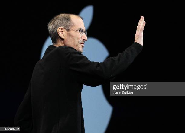 Apple CEO Steve Jobs waves as he delivers the keynote address at the 2011 Apple World Wide Developers Conference at the Moscone Center on June 6 2011...