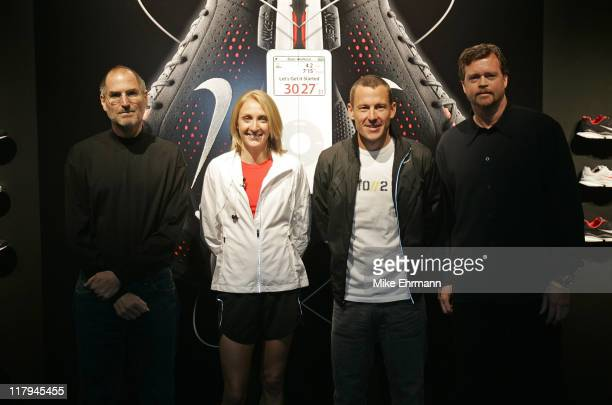 Apple CEO Steve Jobs Women's Marathon Record Holder Paula Radcliffe 7time Tour de France Champion Lance Armstrong and Nike CEO Mark Parker during the...