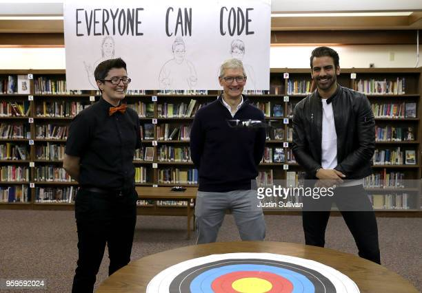 Apple CEO Tim Cook and actor model and activist for the deaf community Nyle DiMarco watch a demonstration with a drone at the California School for...