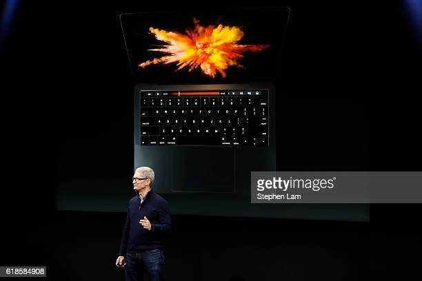 Apple CEO Tim Cook announces the allnew MacBook Pro during a product launch event on October 27 2016 in Cupertino California Apple Inc is expected to...