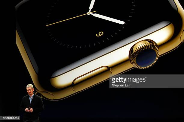 Apple CEO Tim Cook announces the Apple Watch during an Apple special event at the Yerba Buena Center for the Arts on March 9 2015 in San Francisco...