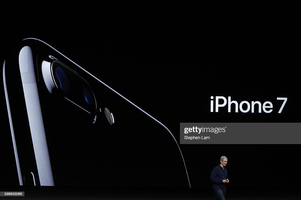 Apple CEO Tim Cook announces the new Apple iPhone 7 during a launch event on September 7, 2016 in San Francisco, California. Apple Inc. is expected to unveil latest iterations of its smart phone, forecasted to be the iPhone 7. The tech giant is also rumored to be planning to announce an update to its Apple Watch wearable device.