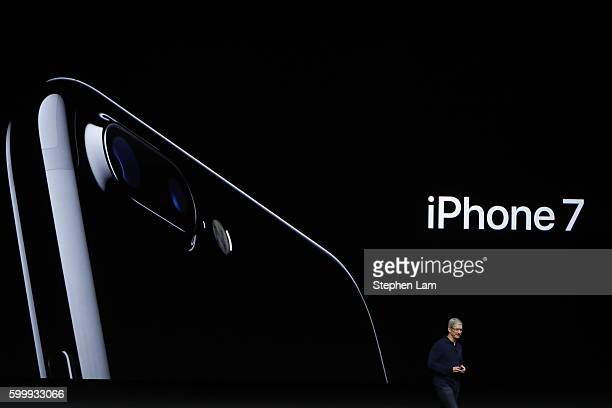 Apple CEO Tim Cook announces the new Apple iPhone 7 during a launch event on September 7 2016 in San Francisco California Apple Inc is expected to...