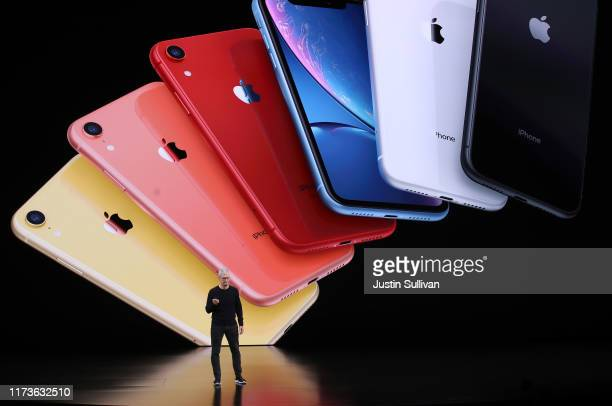 Apple CEO Tim Cook announces the new iPhone 11 as he delivers the keynote address during a special event on September 10, 2019 in the Steve Jobs...