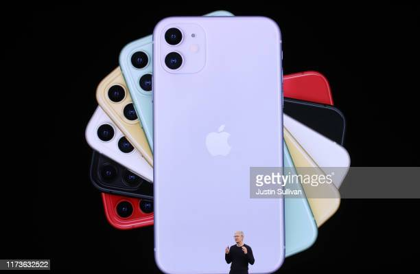 Apple CEO Tim Cook announces the new iPhone 11 as he delivers the keynote address during a special event on September 10 2019 in the Steve Jobs...