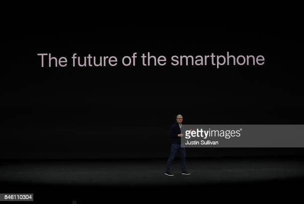 Apple CEO Tim Cook announces the new iPhone X during an Apple special event at the Steve Jobs Theatre on the Apple Park campus on September 12 2017...