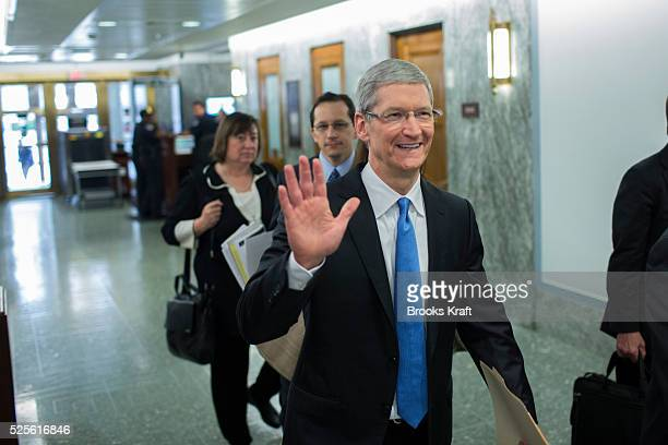 Apple CEO Tim Cook arrives to testify at a Senate homeland security and governmental affairs investigations subcommittee hearing on offshore profit...