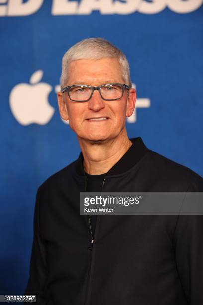 """Apple CEO Tim Cook attends Apple's """"Ted Lasso"""" season two premiere at Pacific Design Center on July 15, 2021 in West Hollywood, California."""