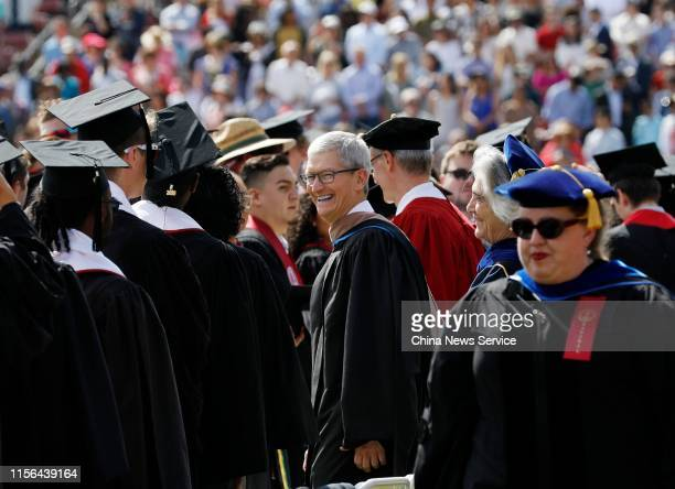 Apple CEO Tim Cook attends the 128th Stanford University commencement ceremony on June 16, 2019 in Stanford, California.