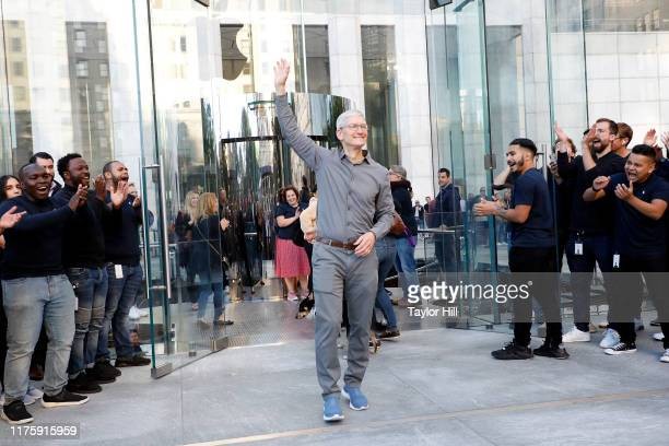 Apple CEO Tim Cook attends the grand reopening of Apple's flagship Apple Fifth Avenue retail store on September 20, 2019 in New York City.
