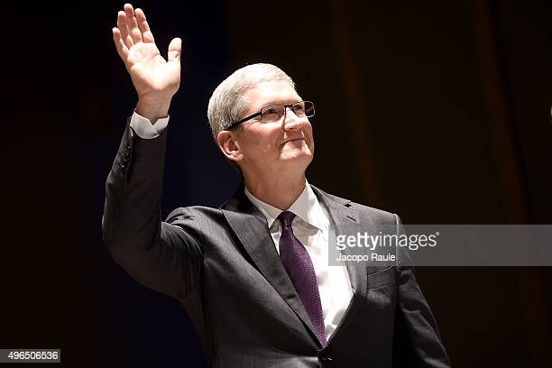 Apple CEO Tim Cook attends the Inauguration of the Academic Year at Bocconi University on November 10 2015 in Milan Italy Tim Cook is attending the...