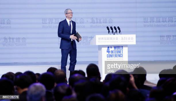 Apple CEO Tim Cook attends the opening ceremony of the 4th World Internet Conference on December 3 2017 in Wuzhen China The 4th World Internet...