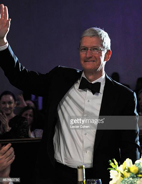 Apple CEO Tim Cook attends the PreGRAMMY Gala and Salute to Industry Icons honoring Martin Bandier at The Beverly Hilton Hotel on February 7 2015 in...
